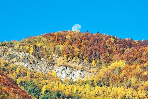Großer vollmond über dem berg mit herbstwald und orangenbäumen