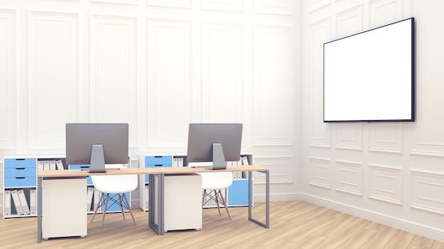 Großer weißer bildschirm für präsentationen. 3d übertragen mit büroinnenraum. modernes loft-büro komfortabler arbeitsplatz