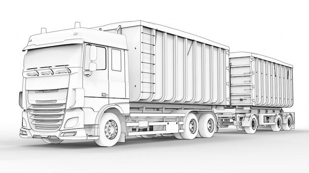 Großer weißer lkw mit separatem anhänger für den transport von landwirtschaftlichen und baulichen schüttgütern und produkten