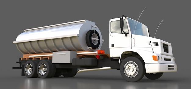 Großer weißer lkw-tanker mit einem anhänger aus poliertem metall. ansichten von allen seiten. 3d-rendering.