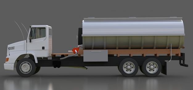 Großer weißer lkw-tanker mit poliertem metallanhänger. ansichten von allen seiten. 3d-illustration.
