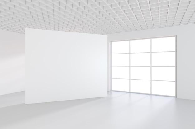 Großes büro mit fenstern und fallendem licht vom fenster auf den boden. 3d-rendering.