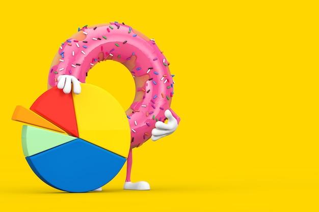 Großes erdbeerrosa glasiertes donut-charakter-maskottchen mit info-grafik-geschäfts-kreisdiagramm auf einem gelben hintergrund. 3d-rendering