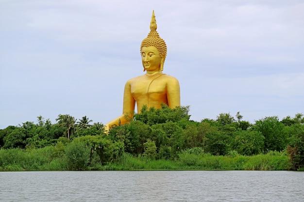 Großes goldenes buddha-bild unter dem wasserfrontwald, ang angong-provinz, thailand