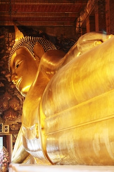 Großes goldenes stützendes buddha-bild an wat pho-tempel, thailand.