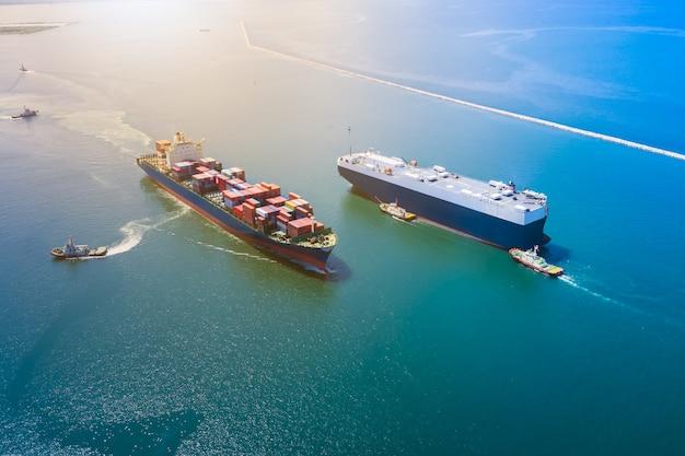 Großes internationales versandgeschäft für das laden von frachtcontainern