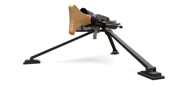 Großes maschinengewehr auf einem stativ mit einer vollen kassettenmunition auf einem weißen hintergrund. 3d abbildung.
