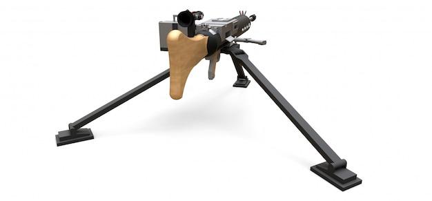 Großes maschinengewehr auf einem stativ mit einer vollen kassettenmunition auf einem weißen hintergrund. abbildung 3d.