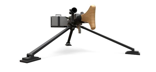 Großes maschinengewehr auf einem stativ mit einer vollen kassettenmunition auf weißem hintergrund. 3d-abbildung.