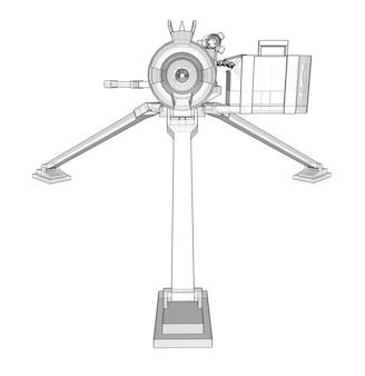 Großes maschinengewehr auf einem stativ mit einer vollen kassettenmunition auf weißem hintergrund. schematische darstellung von waffen in höhenlinien mit durchscheinendem körper. 3d-abbildung.
