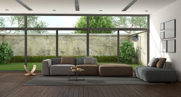 Großes minimalistisches wohnzimmer