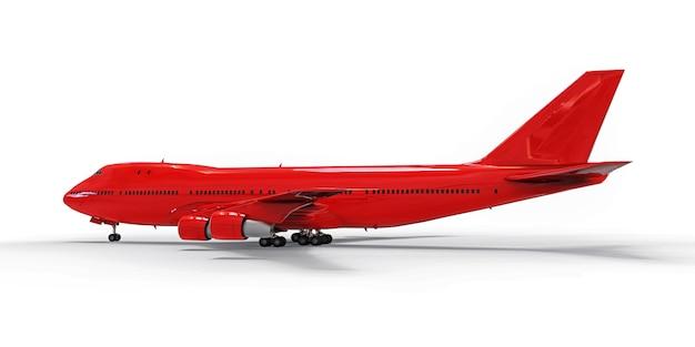 Großes passagierflugzeug mit großer kapazität für lange transatlantikflüge. rotes flugzeug auf weißem getrenntem hintergrund. abbildung 3d.