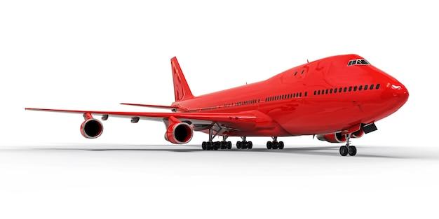 Großes passagierflugzeug mit großer kapazität für lange transatlantikflüge. rotes flugzeug auf weißer getrennter oberfläche