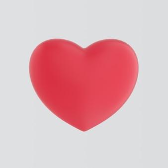 Großes rotes herz lokalisiert auf weißer wand mit reflexionseffekt. realistisches romantisches element. für hochzeit, jubiläum, geburtstag, valentinstag. wie symbol. romantisches konzept. 3d-rendering