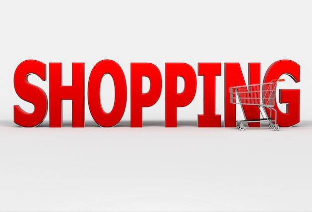 Großes rotes wort einkaufen und warenkorb auf weiß. 3d-rendering