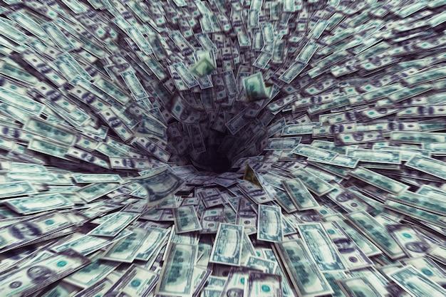 Großes schwarzes loch, das viel geld saugt