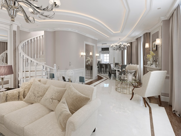 Großes studio-apartment mit sitzbereich und kamin sowie küche-esszimmer.