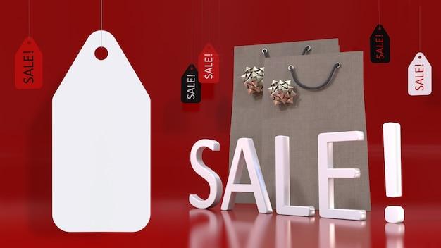 Großes weißes leeres preisschild, das vor einem 3d-verkaufsschild, einkaufstaschen und verkaufsetiketten hängt