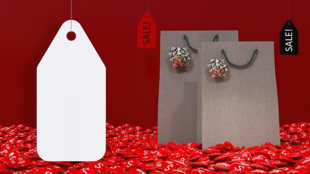 Großes weißes leeres preisschild, das vor einer 3d-einkaufstasche hängt, die aus einer $ pille hervorgeht