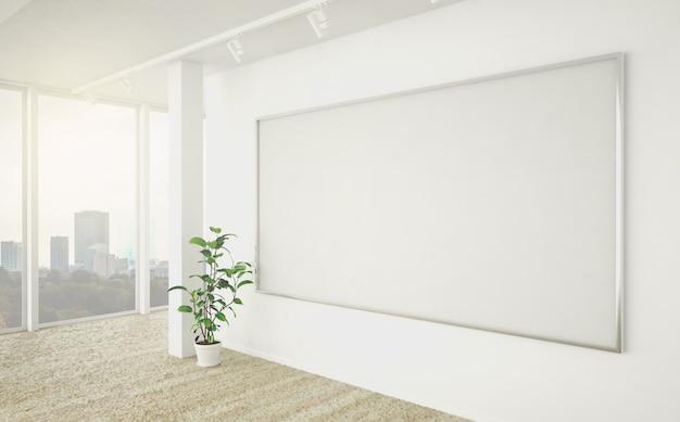 Großes weißes leeres werberahmenplakat im büro