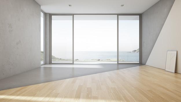 Großes wohnzimmer der seeansicht des luxussommerstrandhauses mit leerem konkretem boden
