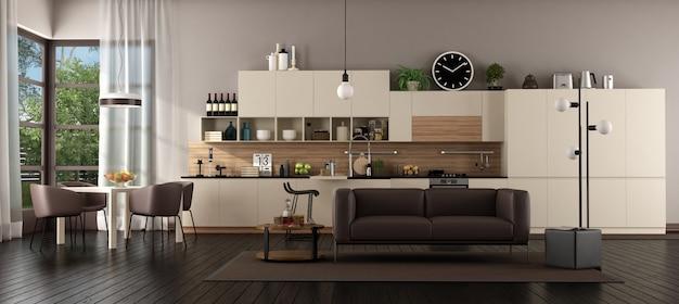 Großes wohnzimmer mit küche
