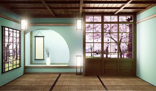 Großes zimmer im sehr luxuriösen zen-stil