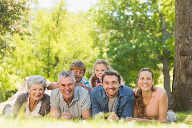 Großfamilie, die auf gras im park liegt