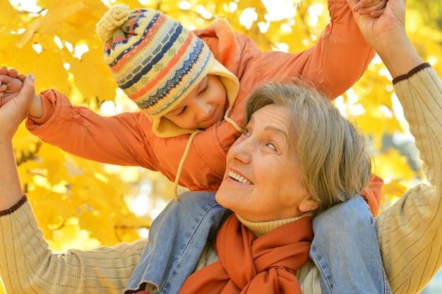 Großmutter mit ihrer enkelin beim laubfall im park spazieren