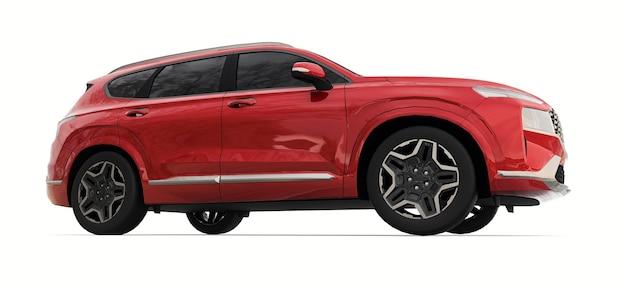 Großstadt-crossover-rote farbe auf weißem hintergrund. 3d-rendering.