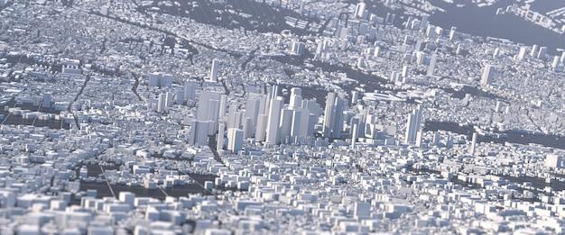 Großstadt der zukunft illustration mit verzerrter perspektive