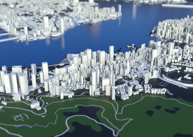 Großstadt-draufsicht. illustration in lässigem grafikdesign. fragment hongkong