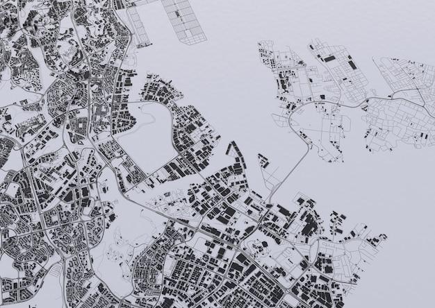 Großstadt-draufsicht. illustration in lässigem grafikdesign. fragment von singapur