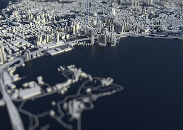 Großstadt im meerblick. illustration in lässigem grafikdesign. fragmente von singapur