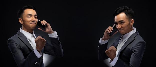 Group pack collage of portrait 20s asian business man unter studiobeleuchtung mit dunklem hintergrund, mann im richtigen grauen anzug, smartphone in der hand halten und mit dem kunden sprechen, social media überprüfen, e-mail lesen, iot