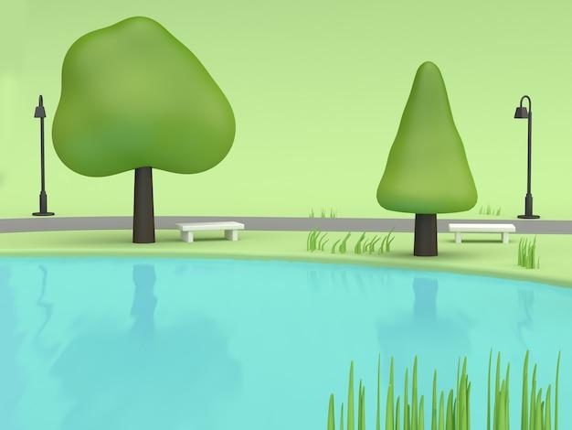 Grün des blauen wassers parkt sommerkonzept mit niedriger wiedergabe der polybaumkarikatur-art 3d