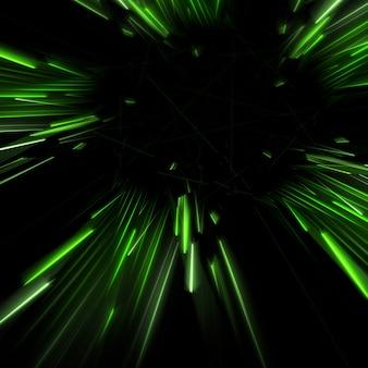Grün fließenden lichtstrahlen hintergrund 3d-darstellung