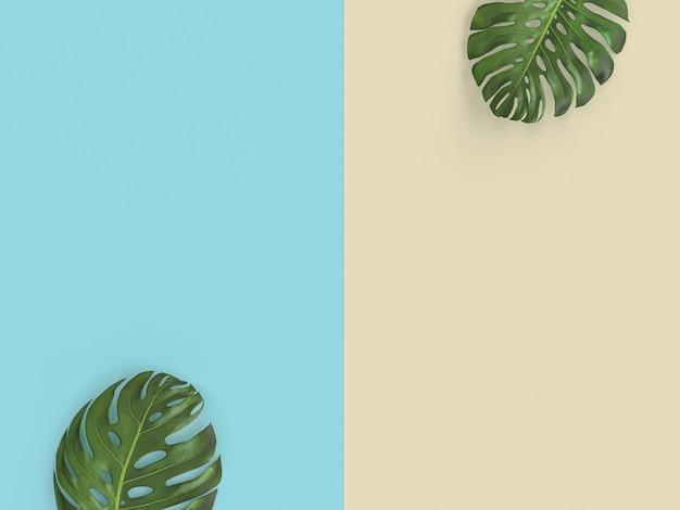 Grünblätter auf zweifarbigem hintergrund, 3d übertragen bild