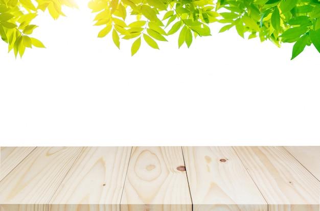 Grünblätter mit leerem holztisch