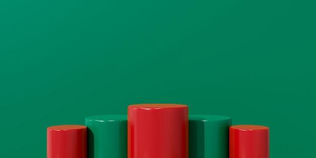 Grüne 3d-darstellung für podiumsstand, leere bühne, sockelprodukt-ausstellungsstand. weihnachten hintergrund verkauf banner heiraten.