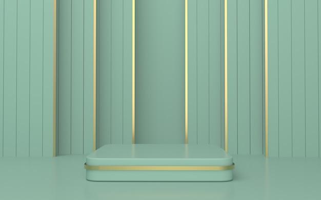 Grüne, abgerundete rechteck-podium-produktanzeige mit goldlinie