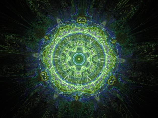 Grüne abstrakte runde kurven und linien auf schwarzem hintergrund