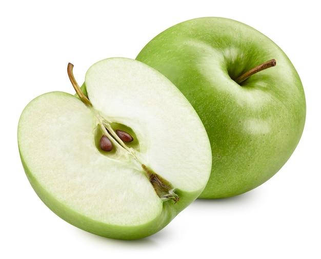 Grüne äpfel lokalisiert auf weißem hintergrund. reife frische äpfel clipping path