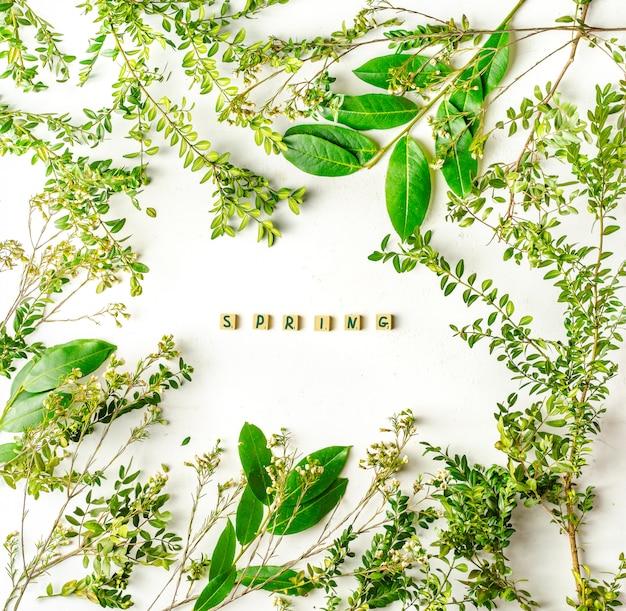 Grüne äste und pflanzen mit frühlingsinschrift