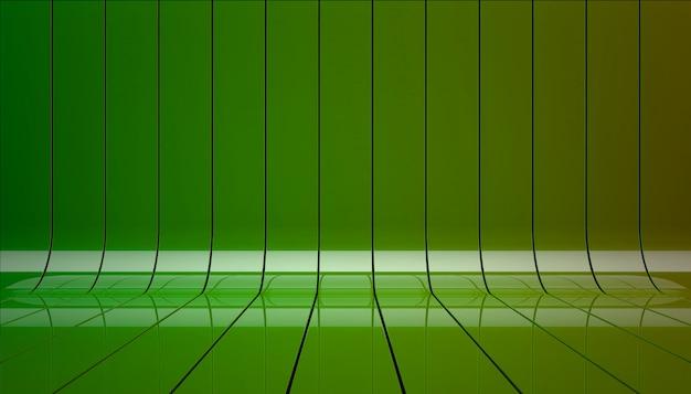 Grüne bänder inszenieren hintergrund 3d illustration.