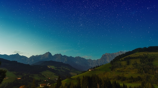 Grüne bäume auf berg unter blauem himmel während des tages