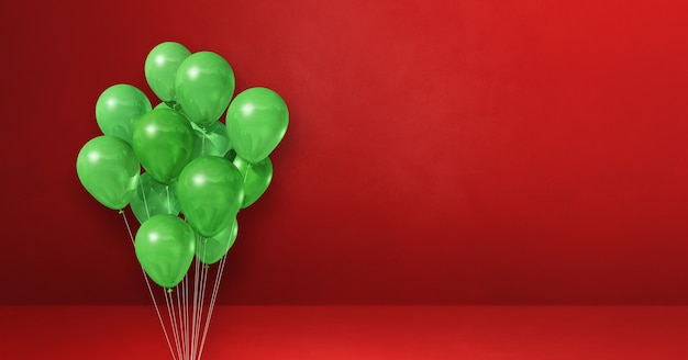 Grüne ballons bündeln auf einem roten wandhintergrund. . 3d-darstellung rendern