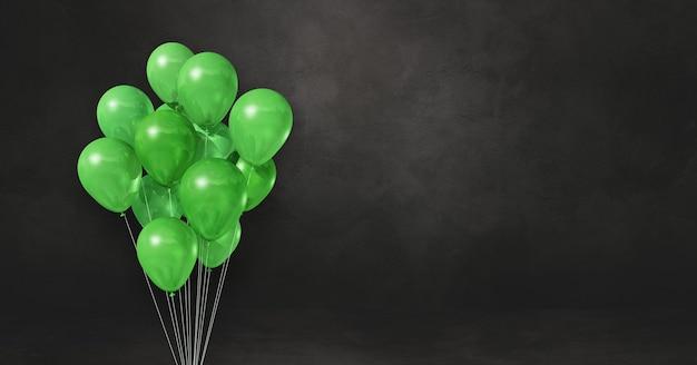 Grüne ballons bündeln auf einem schwarzen wandhintergrund. horizontales banner. 3d-darstellung rendern