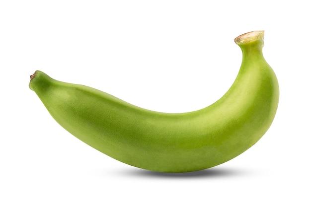 Grüne banane isoliert auf weißem hintergrund mit beschneidungspfad.
