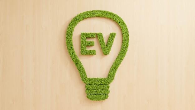 Grüne blätter, die ev-text in glühbirne auf holzwand bilden, kreative erneuerbare energie für sauberes elektrofahrzeug-geschäftsidee-konzepthintergrund, 3d-illustration umweltfreundliches blattwachstum